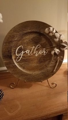 Wooden Charger Plates, Charger Plate Crafts, Wood Plate Chargers, Wooden Chargers, Wooden Plates, Plates On Wall, Custom Plates, Dollar Tree Plates, Dollar Tree Crafts