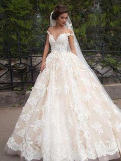 Blush Vestidos De Novia Ball Gown Wedding Dress Off Shoulder Bridal Gown 6 8 10+