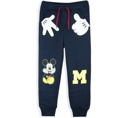 Disney Mickey Mouse Boys Trousers Joggers Bottoms 2-8 Years - Navy