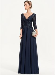 JJsHouse A-Line V-neck Floor-Length Sequins Zipper Up Sleeves Sleeves Dark Navy General Plus Chiffon Evening Dress. Chiffon Evening Dresses, Cheap Evening Dresses, Vestidos Mob, Vestidos Fashion, Ruffle Beading, Tulle Lace, Mother Of Groom Dresses, Mob Dresses, Gowns Online