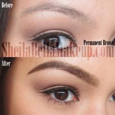 permanent makeup eye brows powder technique
