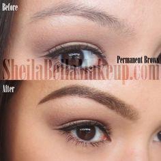 permanent makeup eye brows powder technique
