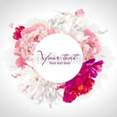 Vektor: Pink, red and white peony background