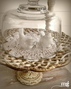 The pedestal ~ Cloche, lace and birds on a vintage cake stand Glass Domes, Glass Jars, Cloche Decor, Vintage Cake Stands, Vintage Cakes, The Bell Jar, Bell Jars, Apothecary Jars, Cake Plates