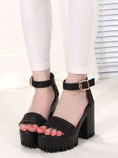 Black Strap Gladiator Platform Heel Sandals