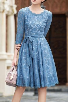 Embroidered Lace Belted Dress ==
