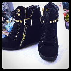 Black suede sneakers style wedges These are sooooo comfy and hip I love these shoes so much there Steve madden and a woman size 8 with a buckle strap and a zipper on the side and gold studs they are super cute Steven by Steve Madden Shoes Wedges