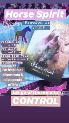 Horses are free and like to roam! Let go some control and allow spirit help you. Animal Spirit Guides, Spirit Animal, Tarot Card Spreads, Power Animal, Oracle Cards, Tarot Decks, Deck Of Cards, Gifts For Husband, Letting Go