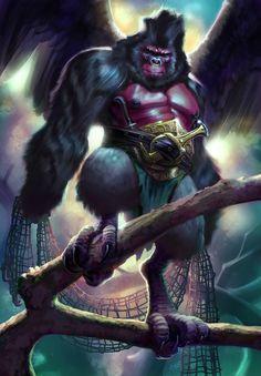 ArtStation - Winged Gorilla of the Emerald Forest concept_c, Tony Weinstock Fantasy World, Fantasy Art, Werewolf Art, Dnd Art, Character Costumes, Dnd Characters, Fantasy Creatures, Cool Art, Concept Art
