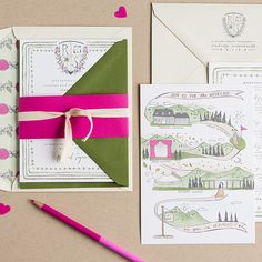 """Brides.com: . A Rustic-Chic Wedding Invitation for a Winter Wedding. """"Sanju and Rana"""" invitation suite, starting at $1,850 for 100 invitations, details cards and envelopes, Swiss Cottage Designs  See more winter wedding invitations."""