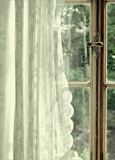 Sunshine through lace curtains.