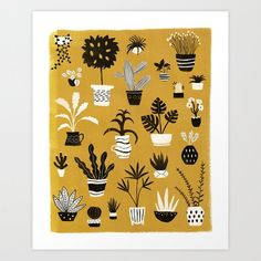 #Botanical #plant @= Yellow Print, Yellow Background, Mustard Yellow, Tech Accessories, Art Prints, Wall Art, Retro, Plants, Design