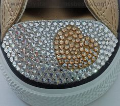 How to Crystallize a Swarovski Heart on Converse Trainers. A Step by step tutorial showing how to bling up a pair of Converse trainers with a Heart in Swarovski Flatback Crystals. Bedazzled Converse, Rhinestone Converse, Bling Converse, Bling Shoes, Converse Boots, Wedding Converse, Rhinestone Crafts, Baby Bling, Makeup Vanities