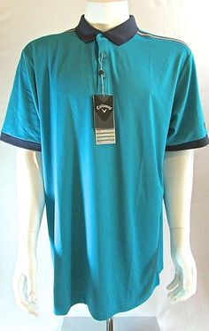 Men's Callaway Enamel Blue Opti-Series Dri-Fit Golf Polo Shirt XXL 2XL #Callaway #Polo #golf