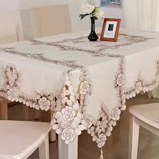 Simple Elegant ᗜ Lj Polyester Satin Embroidery Fl Tablecloth Solid Color Grey Embroidered Table Linen Cloth Cover Overlay