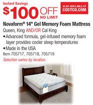 """Costco Novaform King Mattress . Novaform® 14"""" Gel Memory Foam Mattress Queen, King AND/OR Cal King ..."""