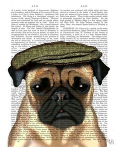 Pug Dog In a Flat Cap Art Print on upcycled dictionary book page, dog print £10.00