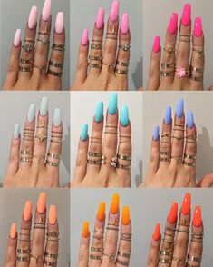 Nail art is a very popular trend these days and every woman you meet seems to have beautiful nails. It used to be that women would just go get a manicure or pedicure to get their nails trimmed and shaped with just a few coats of plain nail polish. Best Acrylic Nails, Acrylic Nail Designs, Acrylic Nails For Summer, Summer Nail Colors, Neon Nail Colors, Manicure Colors, Colorful Nail Designs, Gel Manicure, Bright Nails For Summer