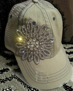 Khaki Destroyed Rugged Baseball Hat with Flower Rhinestone Bling Star Cowgirl | eBay