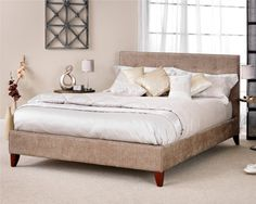 Serene Chelsea Super King Size Fudge Upholstered Fabric Bed Frame with Mahogany Feet Super King Bed Frame, Super King Size Bed, King Size Bed Frame, Bed Frames For Sale, Superking Bed, Large Beds, Upholstered Bed Frame, Stylish Bedroom, Bed Styling