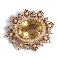 Antike CITRIN BROSCHE mit Naturperlen Rotgold um 1880 / Perlen Brooch