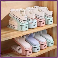 Creative Storage that makes your shoes easy to findYou can find Shoes organizer and more on our website.Creative Storage that makes your shoes easy to find Closet Shoe Storage, Diy Shoe Rack, Closet Shelves, Bedroom Storage, Bedroom Decor, Shoe Racks, Bedroom Organization, Shoe Closet Organization, Shoe Rack For Small Closet