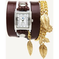 La Mer Collections Brown - Gold Garden Leaf Wrap Watch ($79) ❤ liked on Polyvore featuring jewelry, watches, brown, square watches, gold jewelry, brown wrap watch, gold chain watches and brown leather strap watches
