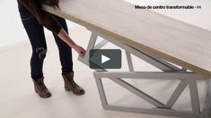 """This is """"Mesa centro Transformable"""" by Baixmoduls on Vimeo, the home for high quality videos and the people who love them. Bedroom Furniture Design, Metal Furniture, Repurposed Furniture, Space Saving Table, Space Saving Furniture, Diy Wood Projects, Woodworking Projects, Smart Table, Metal Bending Tools"""
