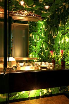 High drama is perfect in a powder room. Note under cabinet lighting. Brazillianc… High drama is perfect in a powder room. Note under cabinet lighting. Brazilliance – The Glam Pad Tropical Bathroom, Tropical Decor, Tropical Kitchen, Chinoiserie, Estilo Kitsch, Powder Room Wallpaper, Palm Wallpaper, Botanical Wallpaper, Bathroom Wallpaper Leaves