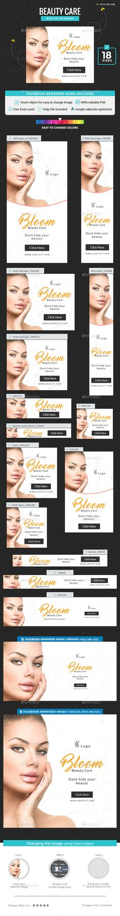 Beauty Care Banners — Photoshop PSD #web banner #multi purpose • Available here → https://graphicriver.net/item/beauty-care-banners/20192724?ref=pxcr