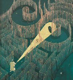Victo Ngai (27).  ...somewhere between a maze and a labryinth (spirals) with a 'Minotaur' waiting...