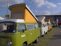 A Westphalia parade! I once owned a cream colored Westphalia, like the second one here. I also owned an avocado green VW bus. ...Repinned by ItsSewSusan.Etsy.com