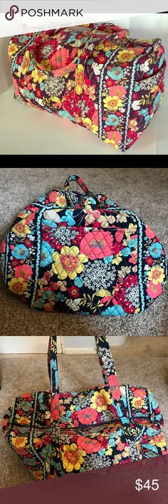 Vera Bradley Large Duffle Bag - Happy Snails Only used a few times, great condition! 23in w x 11in h x 11in d with 16in strap drop height. Vera Bradley Bags Travel Bags