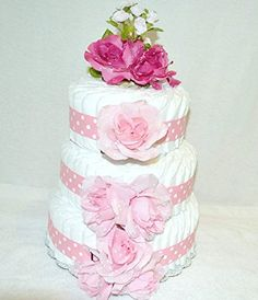 Amazon.com : 3 Tier Pink Roses Diaper Cake - 100 Diapers (Extra Large Diaper Cake) : Baby