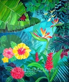 flowers of Suriname #Suriname art Acrylic painting on canvas by Lisa Marie Schmidt, REDHEAD ART