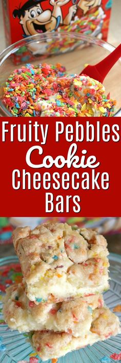 Fruity Pebbles Cookie Cheesecake Bars are not only fun to eat, they are easy to make with only 6 simple ingredients! This ooey-gooey delight is made with a soft, chewy sugar cookie dough that's LOADED with Fruity Pebbles and has a creamy, delicious cream cheese center. #cheesecakebar #easydessert #easter #easterdessert #fruitypebbles #cereal #dessertcereal #ad