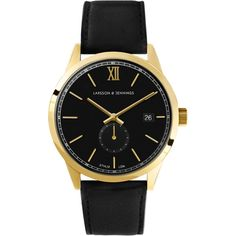 Larsson & Jennings Saxon | S Iv Watch ($490) ❤ liked on Polyvore featuring jewelry, watches, polish jewelry, matte gold jewelry, black dial watches, black face watches and bezel watches