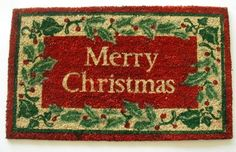Geo Crafts G615 PVC Backed Coco Doormat Merry Christmas Holly Border -- This is an Amazon Affiliate link. Check out this great product.