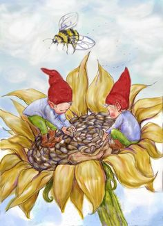 Gnome Kids Picking Sunflower Seeds Blank Greeting Card  Price $2.95