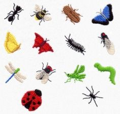 miniature bug embroidery designs insects ant bee beetle butterfly centipede cicada dragonfly fly grasshopper inchworm ladybug spider