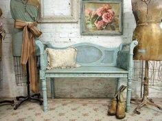 Painted Cottage Chic Shabby Aqua Chic French by paintedcottages Love love love the bench need need need. Painted Cottage, Shabby Cottage, Cottage Chic, Cottage Style, Cottage Living, Shabby Chic Furniture, Shabby Chic Decor, Painted Furniture, Blue Furniture