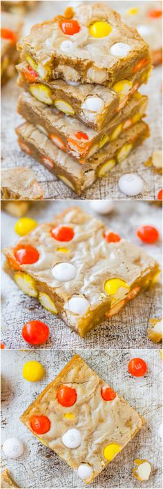 Candy Corn White Chocolate M&M Blondies. Super, soft, buttery bars with Halloween candy baked right inside:)