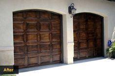 """Garage Door Makeovers - Faux Wood  Actually, no need to replace. A professional faux painter can make your garage doors look like elegant wood at a fraction of the cost of real wood replacement doors. This set of doors was """"grained"""" with several layers of different-colored stains, then given a final protective clear coat of marine varnish. The process takes several days (24 hours between stain layers) and costs about $550 per door."""