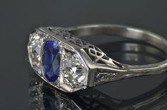 Victorian diamond and sapphire ring
