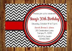 Red and Black Chevron Birthday Invitation by InvitesByChristie, $12.00