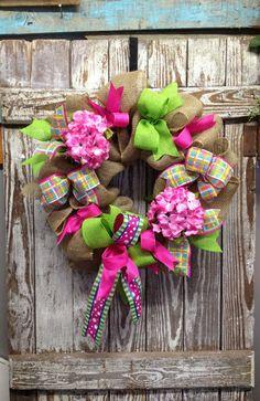 Burlap Door Wreath. Spring Wreath. Deco Mesh and Burlap Wreath. on Etsy, $53.00