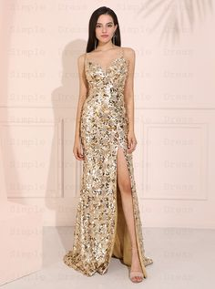 Sparkle Sequined Long Champagne Wedding Guest Evening Dress with Split Evening Wedding Guest Dresses, Champagne Evening Dress, Party Dresses, Formal Dresses, Evening Party, Sparkle, Stylish, Inspiration, Fashion