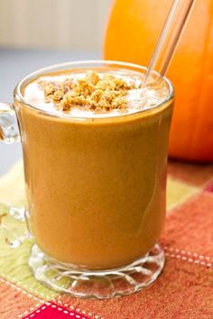 Ingredients:  1 cup almond milk, plus a bit more if necessary  1/4 cup rolled oats  1 tbsp chia seeds  1/2 cup pureed pumpkin  1 tbsp blackstrap molasses  1 small frozen banana  1 tsp cinnamon  1/2 tsp ginger  pinch nutmeg  Ice, if desired