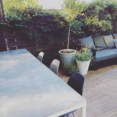 Our new concrete table in the backyard. Plywood coated with the microcement sold in our webshop. Simple as that! #microtopping #mikrosementti #microcement #concrete #concretetable #betonipöytä #betoni #betong #betongbord #diy #myhome #zcounterform #garden #backyard #interior #boligmagasinet #interiorwarrior #design #emiliemadelene #etuovisisustus #renovering #renoveringsdamm #scandinavianhomes