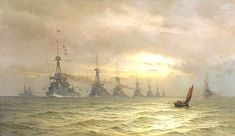 HMS Dreadnought. 'The first Battle Squadron of dreadnoughts, 1910'.